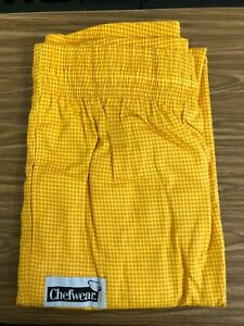 CHEF WEAR 3000 BAGGY PANT YELLOW ORANGE CHECK COOK KITCHEN FOOD SERVICE SIZE 5X