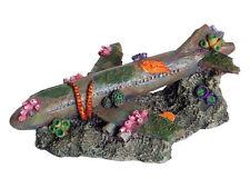 Sunken Airliner Plane Wreck Decoration Ornament for Aquarium Fish Tank