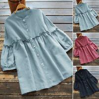 ZANZEA Women Puff Sleeve Summer Tee T Shirt Button Up Top Loose Plus Size Blouse