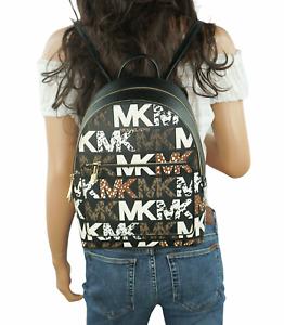 MICHAEL KORS ADINA MEDIUM BACKPACK GRAPHIC LOGO EXOTIC MK BLACK $448