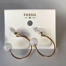 NWT Fossil Women's Gold Tone Hoops Stainless Steel Glass Ball Ear Jackets