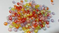 Acrylic Letter Beads - Flat Round - 7mm - Clear - Mixed Colour - 5 Alphabet Sets