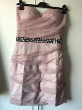NEW Lipsy Chiffon Jewelled Waist Pink Bandeau Dress Size 12 BNWT