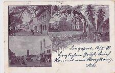 K 568-RAR , Greeting Singapore, Museum, Raffles Square,  Multi-View1901 gelaufen