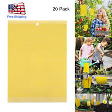 20Pcs Sticky Fly Trap Paper Yellow Traps Fruit Flies Insect Glue Catcher Best