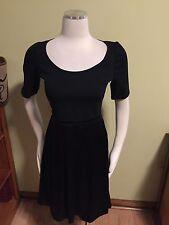 Theory Melody Black Ponte Silk Stretch Half Sleeve Dress 8 Excellent