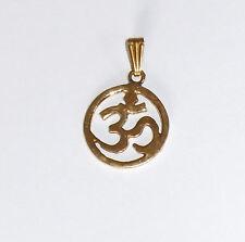 OM-Anhänger Messing vergoldet Talisman Glücksbringer Meditation (17585)