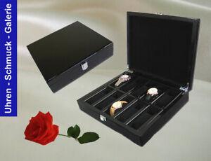 Edle schwarze Uhrenbox aus Holz für 10 Uhren  mit Klavierlack.