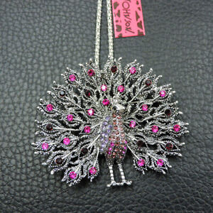 Betsey Johnson Pink Crystal Fashion Bling Peacock Pendant Necklace Sweater Chain
