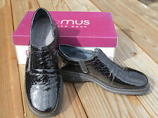 NIB ROMUS Loafers, Shoes, Alligator Black Patent, Zipper, 39, 8.5
