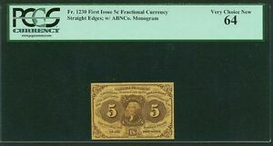 "1862-63  5 CENTS FRACTIONAL CURRENCY FR-1230 CERTIFIED PCGS ""VERY CHOICE NEW-64"""