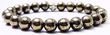 BRACELET - IRON PYRITE 8mm Round Crystal Bead w/ Description - Healing Stone
