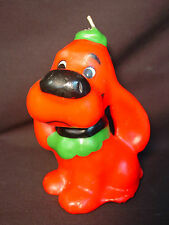 Old Rare Vtg Melody Candle Xmas Carol Song Wax Figure Big Red Dog Clifford Puppy