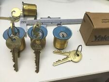 Yale Mortise lock cylinders no.2153 with 2 keys , 6-pin,1/4 (32mm), 630 finish