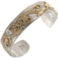 HANDMADE Gold Silver Fancy Western Bracelet Sterling Southwest Cuff UNISEX