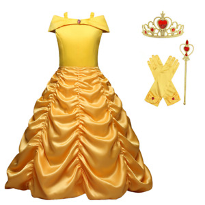 Princess Belle Yellow Off Shoulder Layered Costume Dress With Accessories 2-10T