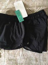 """Lululemon Hotty Hot Shorts  Black BLK Speed Turbo Yoga   Mesh 4 """" Long Size 10"""