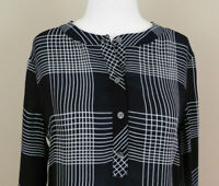 Banana Republic Womens Size Small Shirt Popover Tunic Black White Long Sleeve