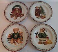 Sakura Christmas Bears Set of 4 Salad Dessert Plates Debbie Mumm 1998