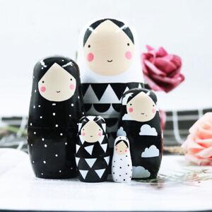 Cute Wooden Russian Dolls Matryoshka Black&White Nesting Kids Toy Home Decor set