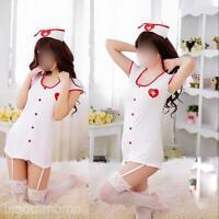 New Set Women Costume Lingerie Cosplay Fancy Sexy Nurse Uniform Size S M L & Cap