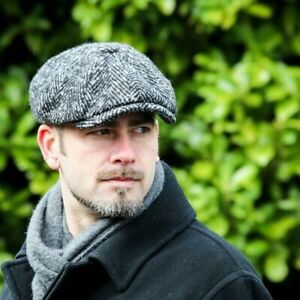 New Men's Olney Urban 4 8 Piece Chunky Tweed Gatsby Cap Peaky Blinders  Charcoal