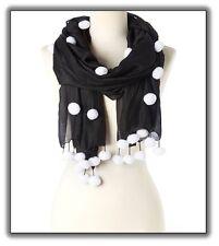 Black with White Pom Pom's Silk Wool Handmade Scarf (SM-5015) Best Accessories!