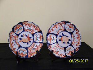 Set of 2 Antique Chinese Imari Hand Painted Scalloped Edge Chargers Plates