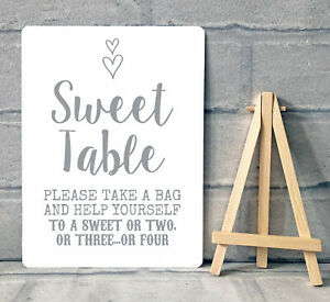 A5 Sweet Table Candy Stall Cart Buffet Jar Sign With Easel Wedding Party - Heart