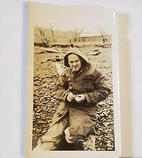 Photo Man Smoking Sitting on Log in Raincoat  Photograph 1940s B&W Portrait USA