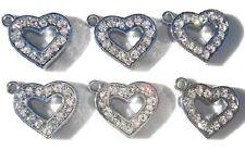 10 Valentine/'s Key Lock Heart Crystal Rhinestone Silver Charm//Pandent//Bead K136