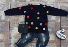 Girls Toddler Navy Long Sleeve Knit Sweater With Multi Colored Pom Poms Top NEW