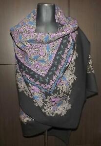 Vintage Printed Fine Wool Crepe Shawl Scarf Wrap 130 cms x 132 cms Primroses A/F