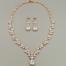Rose Gold Plated Zirconia CZ Necklace Earrings Bridal Wedding Jewelry Set 00668