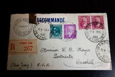 France #291-3 Registered 1933 Cover Cresskill Nj Vf Condition