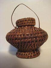 "Original Wood Guam Wicker Lidded Hand Woven Basket Trinket Stash 6X4"""