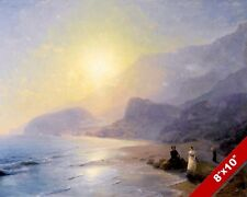 ROMANTIC COUPLE ON THE COAST BEACH SEASCAPE PAINTING ART REAL CANVAS PRINT