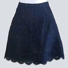 J.Crew Black Label Womens Navy Lace Scallop Hem A-Line Skirt 2 kfp1