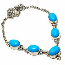 "Sleeping Beauty Turquoise Gemstone Handmade Silver Jewelry Necklace 18"" SN-69"