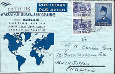 INDONESIA :1959 Aerogramme to UK
