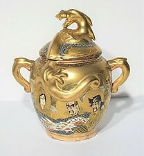 Antique Japanese Meiji Period Satsuma Sugar Bowl w Dragon