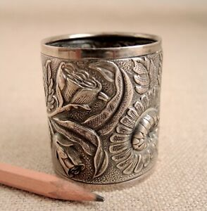 Antique Napkin Ring Sterling Silver Repousse Flowers Handmade Floral Ornate Vtg