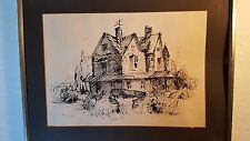 """Original Ink Etching from 1973 """"Countryside Villa"""" Framed SGND"""
