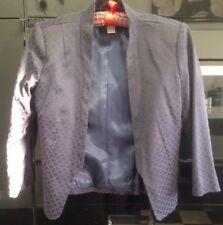 H&M Blazer Indigo Blue Jacquard Jacket Size 8