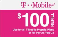 T-Mobile  Prepaid $100 Refill Top-Up Prepaid Card , AIR TIME  PIN / RECHARGE