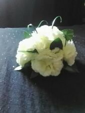 NEW TABLE CENTREPIECE.IVORY  CARNATIONS, GRASS.LEAVES.WEDDING,PARTY.OCCASSION