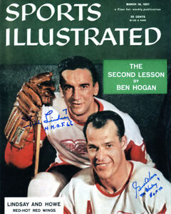 TED LINDSAY & GORDIE HOWE DUAL SIGNED 8x10 SI COVER PHOTO RED WINGS BECKETT BAS