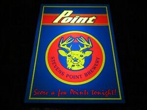 NEW VTG 1989 STEVENS POINT BEER STAG DEER LOGO IN MOTION BAR LIGHT SIGN PUB WI $