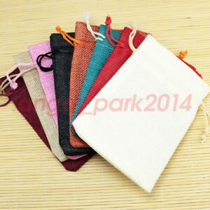 100/200pcs Natural Jute Hessian Drawstring Pouch Burlap Wedding Favor Gift Bags