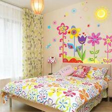 Wandtattoo Bunte Blumen ❤️ Kinderzimmer Sonne Vogel Aufkleber Sticker * BBL